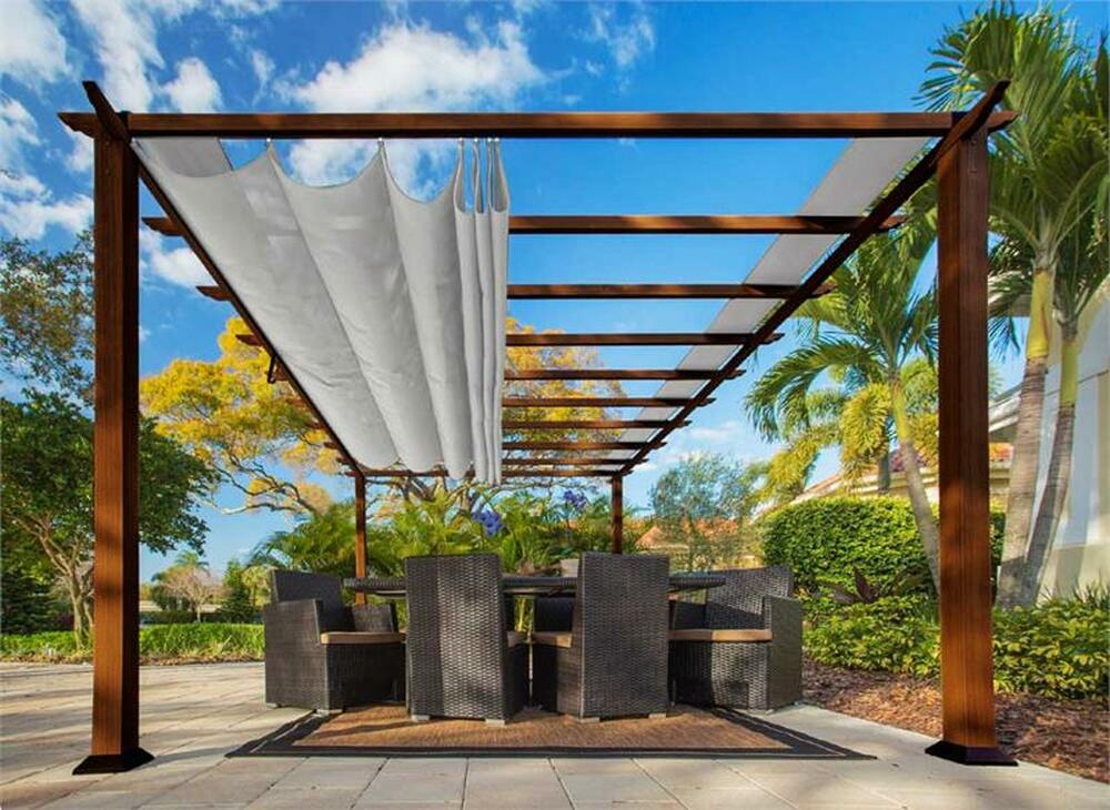 Paragon Outdoor Florence 11x16 Aluminum Pergola with Chilean Wood Grain Finish/Silver Color Convertible Canopy