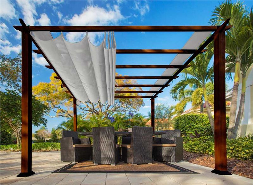 Paragon Outdoor Florence 11x11 Aluminum Pergola with Chilean Wood Grain Finish/Silver Color Convertible Canopy