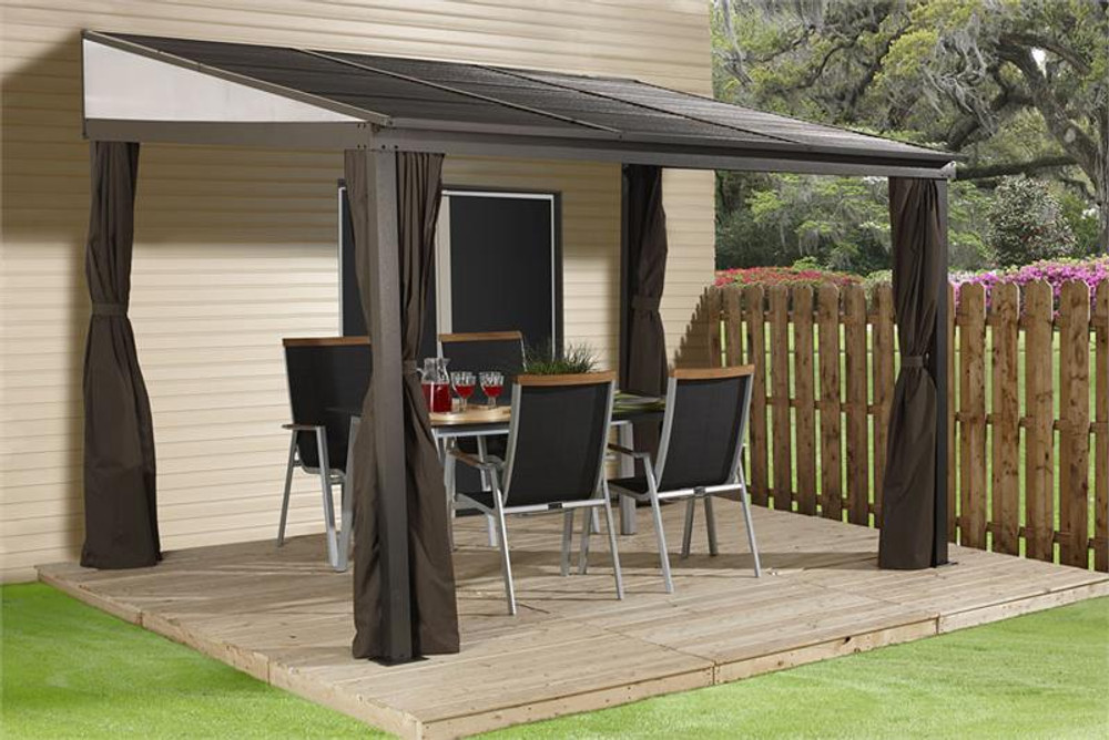 Sojag Portland 10x14 Wall-Mounted Hardtop Gazebo with Mosquito Netting, Privacy Curtains