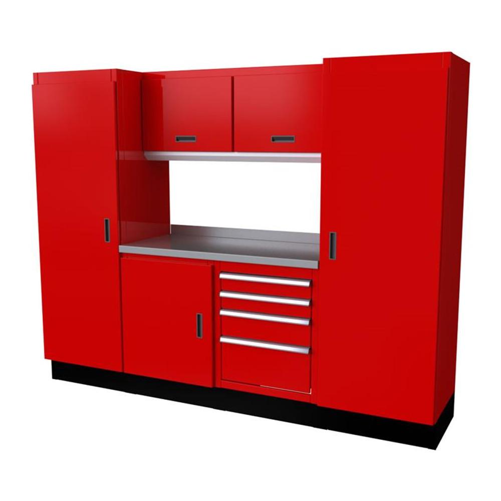 Moduline Select Series 7 Piece Garage Cabinet Set - Red