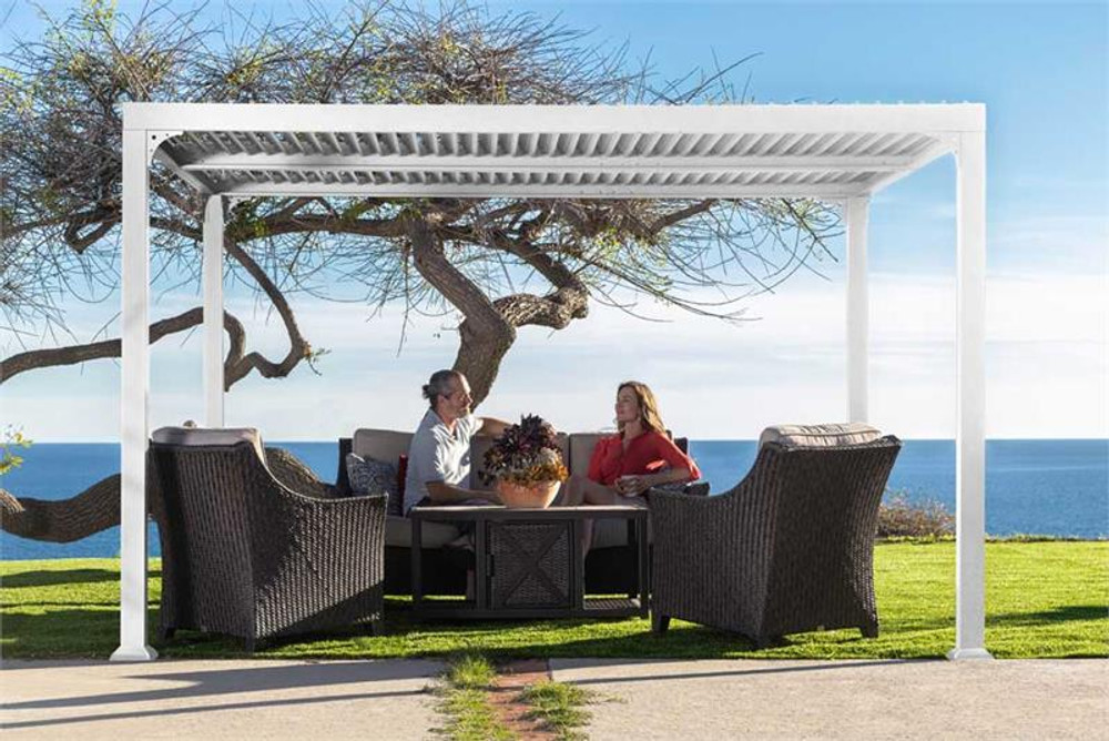 Paragon Outdoor Novara 10x12 Pergola with Louvered Canopy - White