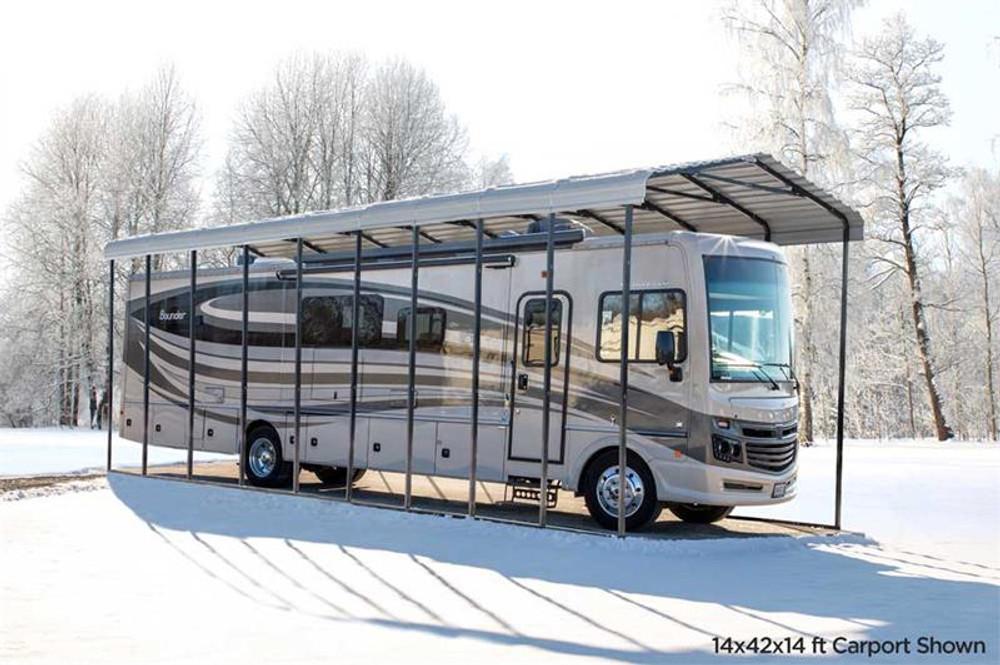Arrow RV Carport, 14 x 42 x 14 - Eggshell