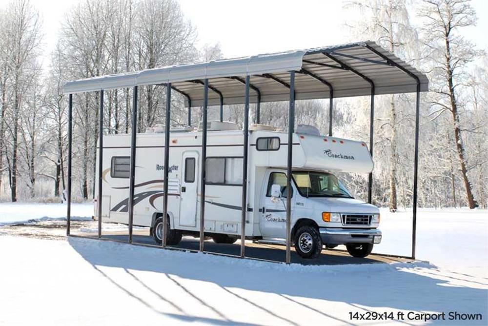 Arrow RV Carport, 14 x 38 x 14 - Eggshell