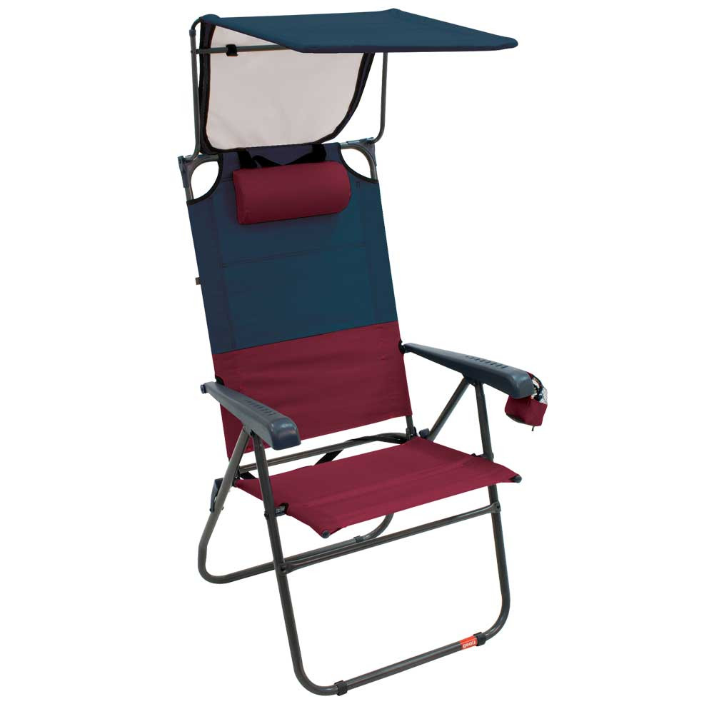 RIO Gear Hi-Boy Aluminum Canopy Chair - Charcoal/Oxblood
