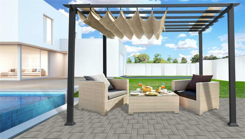 Paragon Outdoor Florence 11x11 Aluminum Pergola with Grey Frame/Sand Color Convertible Canopy