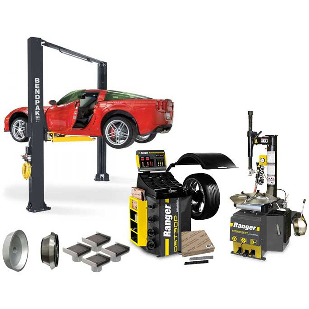 BendPak XPR-10AS + R980XR + DST30P + APX-TS1 Tire Shop Bundle