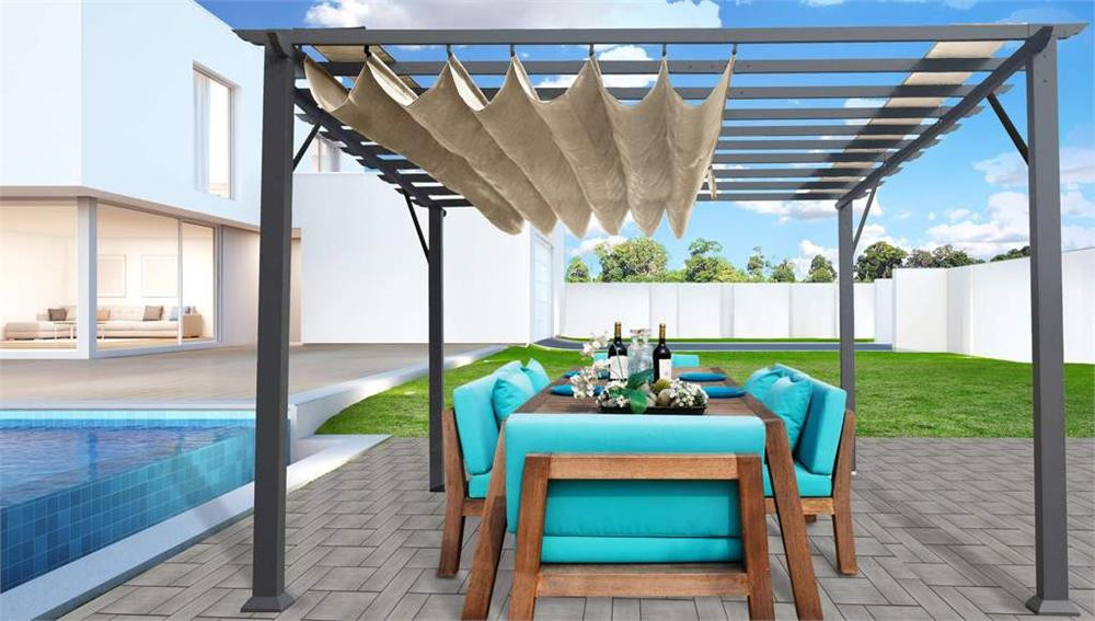 Paragon Outdoor Florence 11x16 Aluminum Pergola with Grey Frame/Sand Color Convertible Canopy