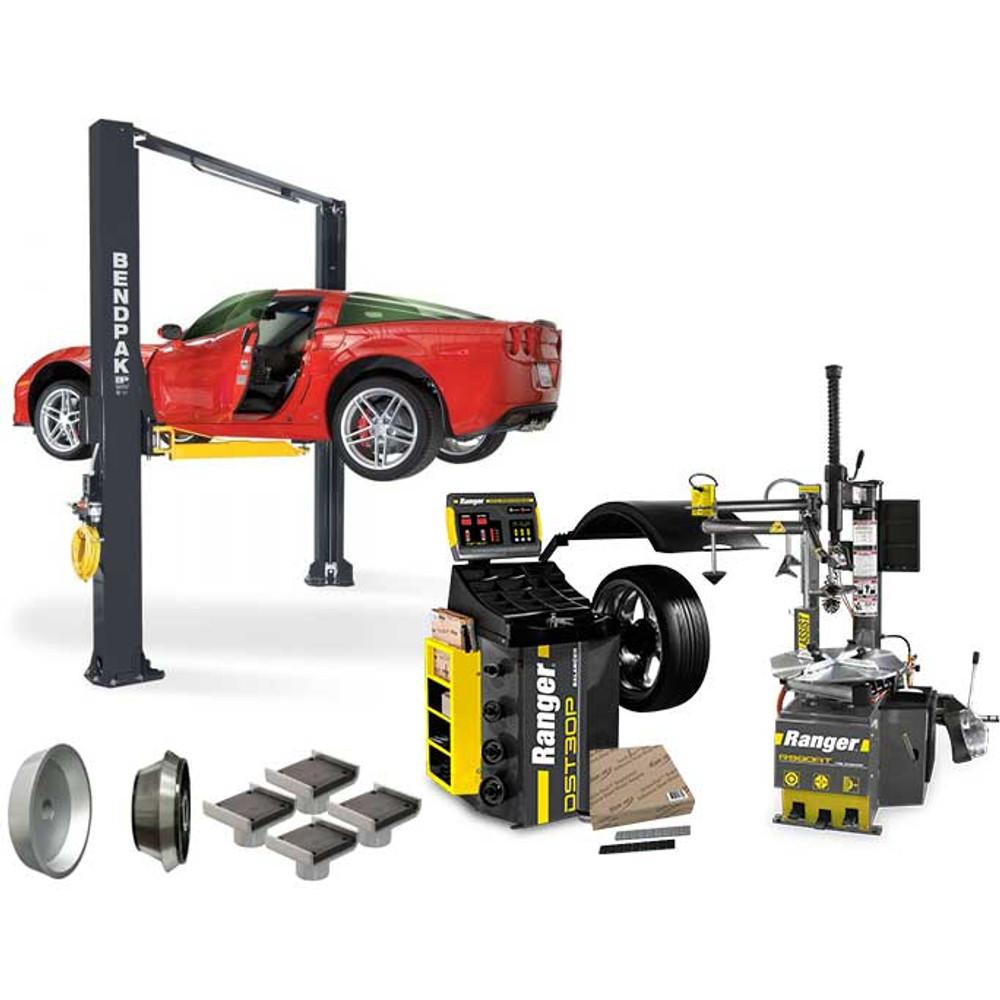 BendPak XPR-10AS + R980AT + DST30P + APX-TS1 Tire Shop Bundle