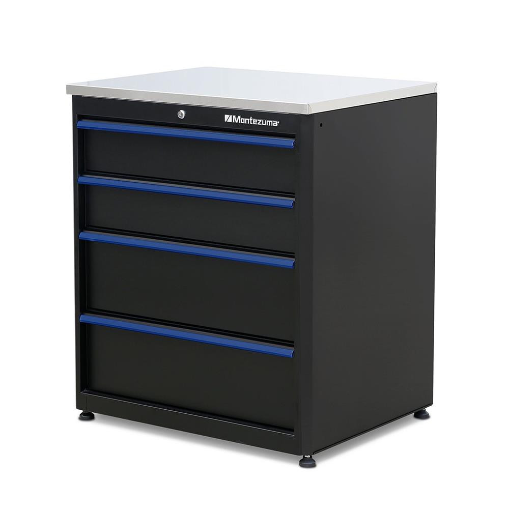 Montezuma 4-Drawer Base Cabinet with Stainless Steel Worktop