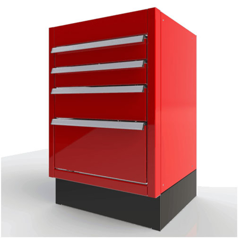 Moduline Select Series Aluminum Built-In Tool Box Featuring QuikDrawer® Single Action Latch System - Red