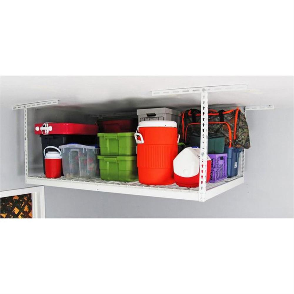 "SafeRacks 4' x 6' Overhead Storage Rack 12"" - 21"" Drop - White"