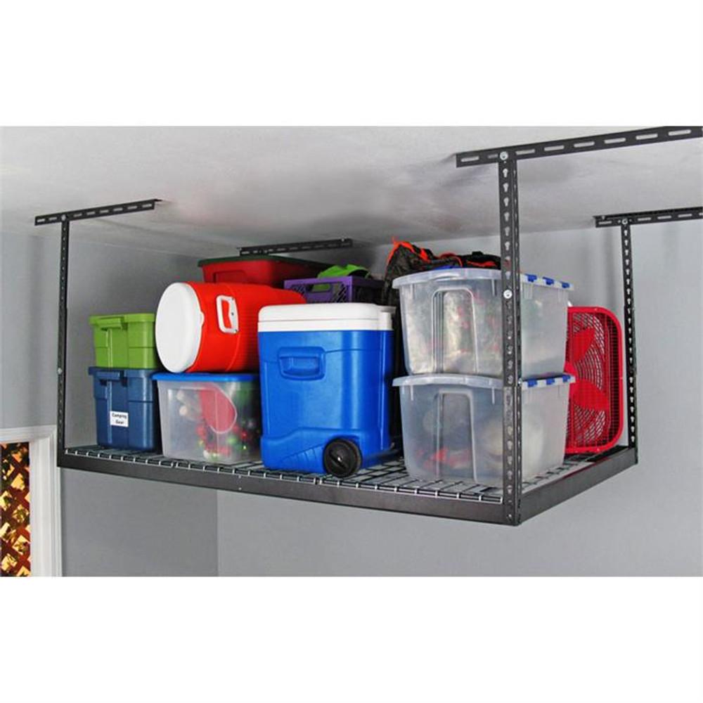 "SafeRacks 4' x 6' Overhead Storage Rack 12"" - 21"" Drop - Hammertone"