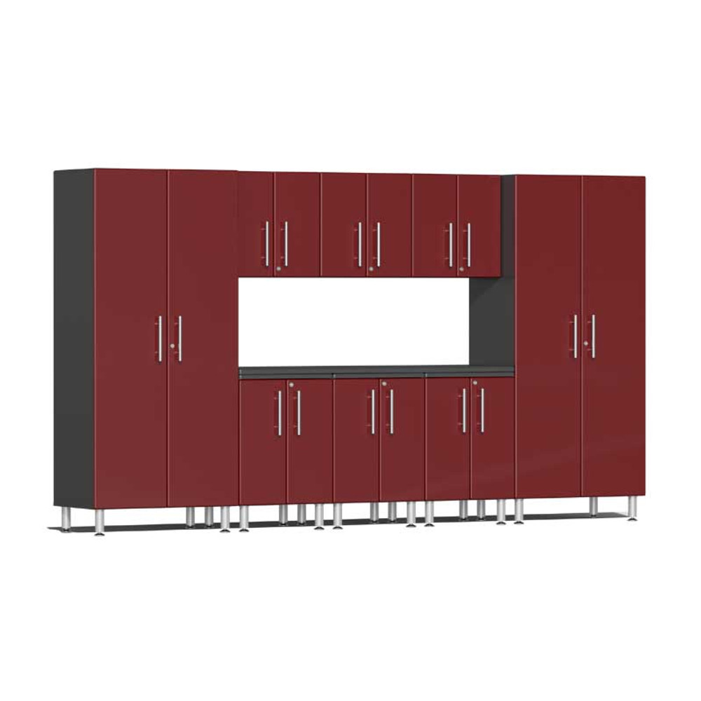 Ulti-MATE Garage 2.0 Series Red Metallic 9 PC Kit with Worktop