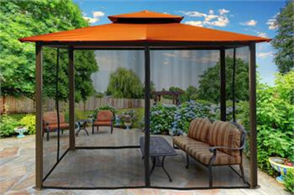 Paragon Outdoor Barcelona 10x12 Gazebo with Rust Top & Mosquito Netting
