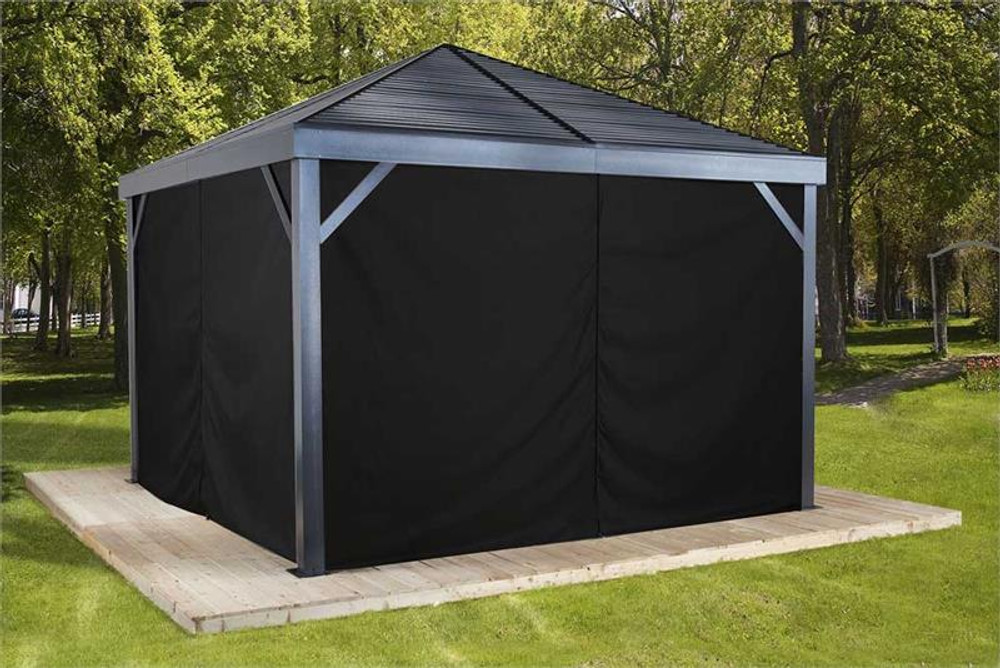 Sojag Curtains for South Beach 12 x 12 ft Black - Gazebo Not Included