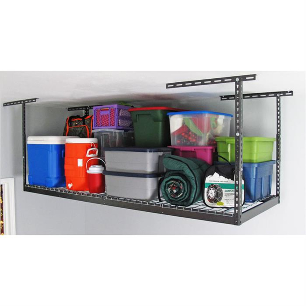 "SafeRacks 3' x 8' Overhead Storage Rack 18"" - 33"" Drop - Hammertone"