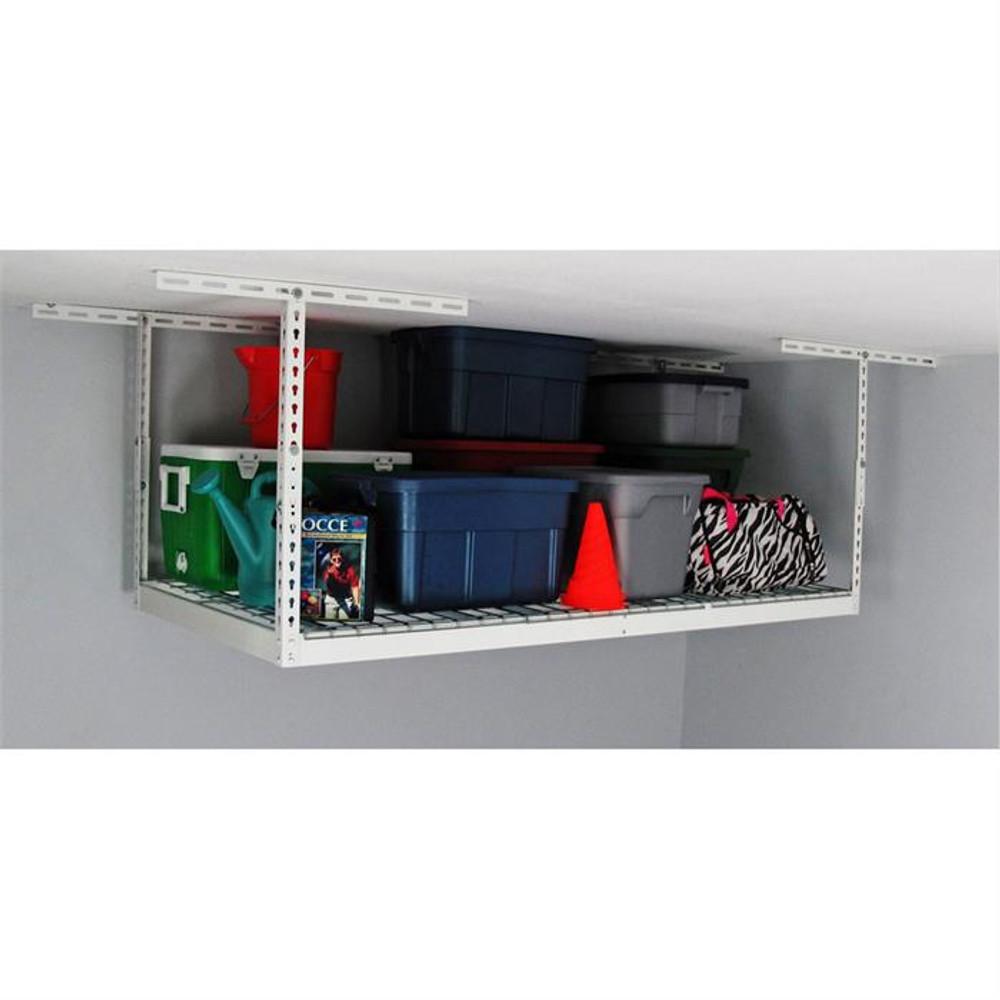 "MonsterRax 3' x 6' Overhead Storage Rack 12"" - 21"" Drop - White"