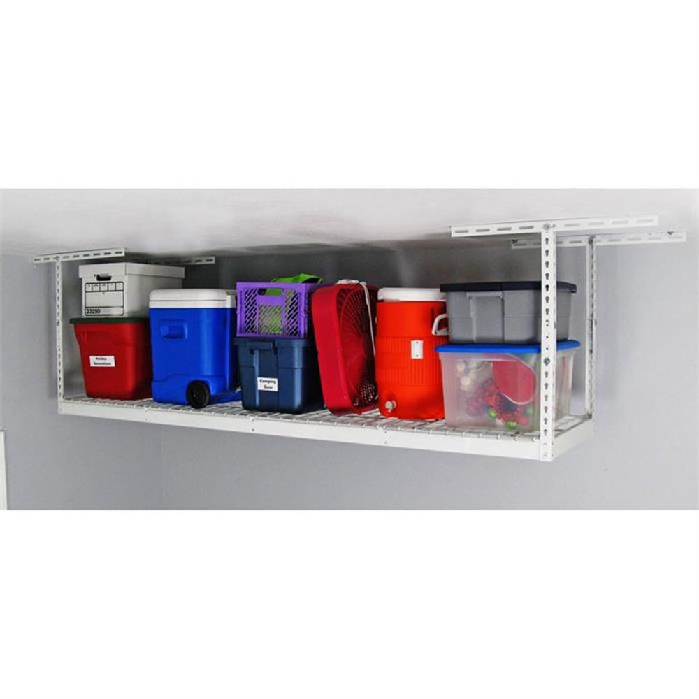 "SafeRacks 2' x 8' Overhead Storage Rack 24"" - 45"" Drop - White"