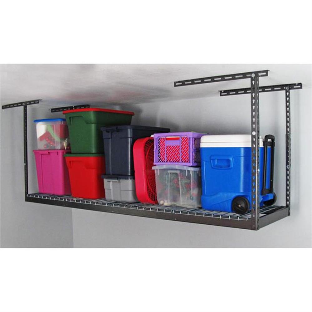 """MonsterRax 2' x 8' Overhead Storage Rack 24"""" - 45"""" Drop - Hammertone"""