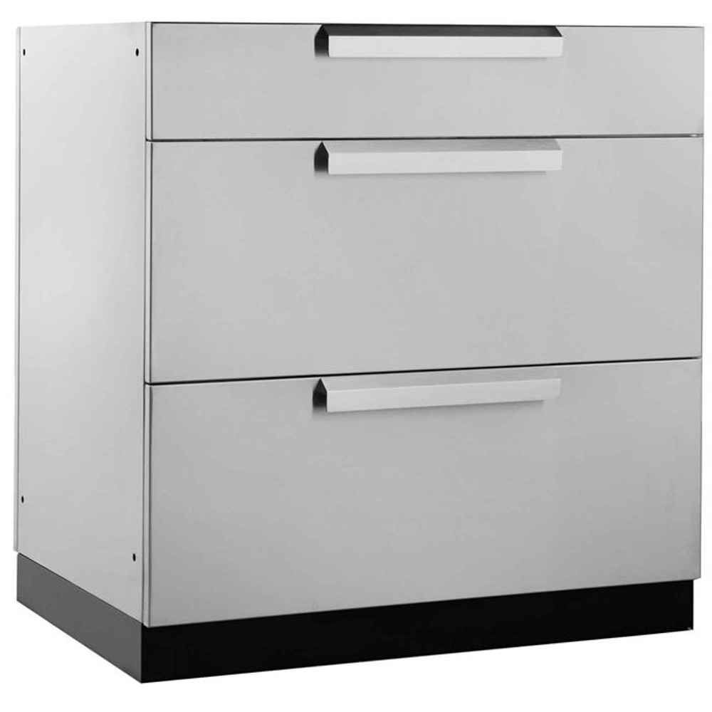 "NewAge Stainless Steel 32""W x 23""D 3-Drawer Cabinet"