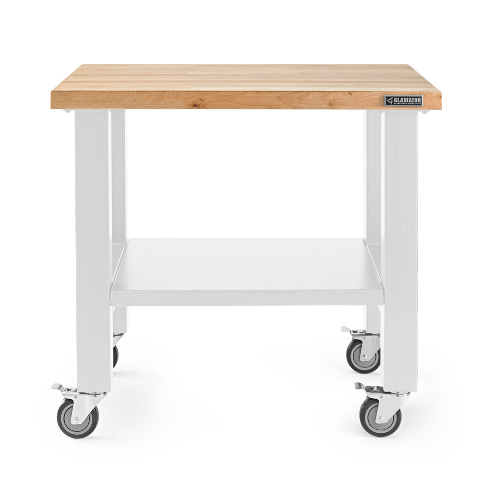 Gladiator 3' Hardwood White Mobile Workstation