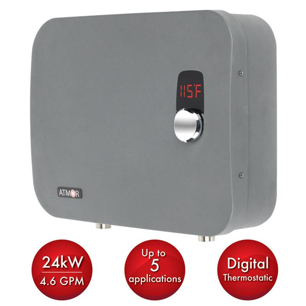 Atmor ThermoPro 24kW/240-Volt 4.6 GPM Stainless Steel Digital Electric Tankless Water Heater with Self-Modulating Technology