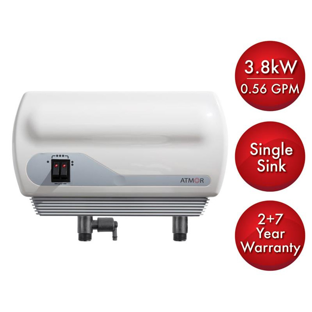 Atmor 3.8kW/240-Volt 0.56 GPM Electric Tankless Water Heater with Pressure Relief Device, On demand Water Heater