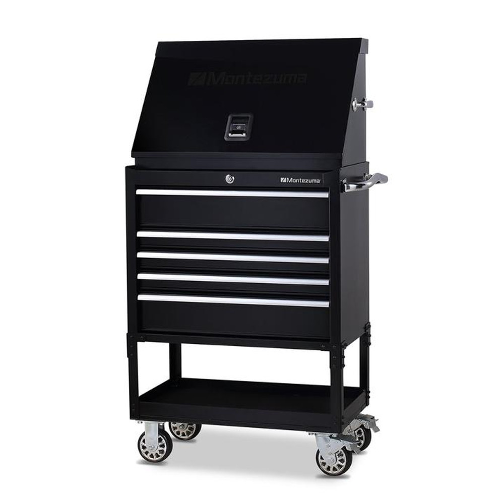 """Montezuma 30"""" X 15"""" Steel Triangle Toolbox and 30"""" 5-Drawer Utility Cart Combo"""