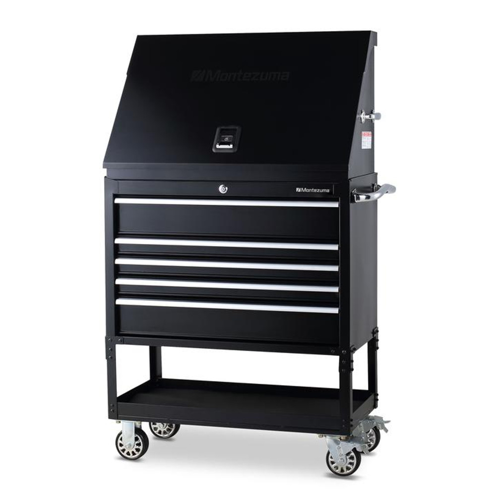 """Montezuma 36"""" X 17"""" Steel Triangle Toolbox and 36"""" 5-Drawer Utility Cart Combo"""