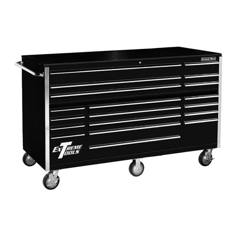 """Extreme Tools 72"""" RX Series 19-Drawer Roller Cabinet - Black"""