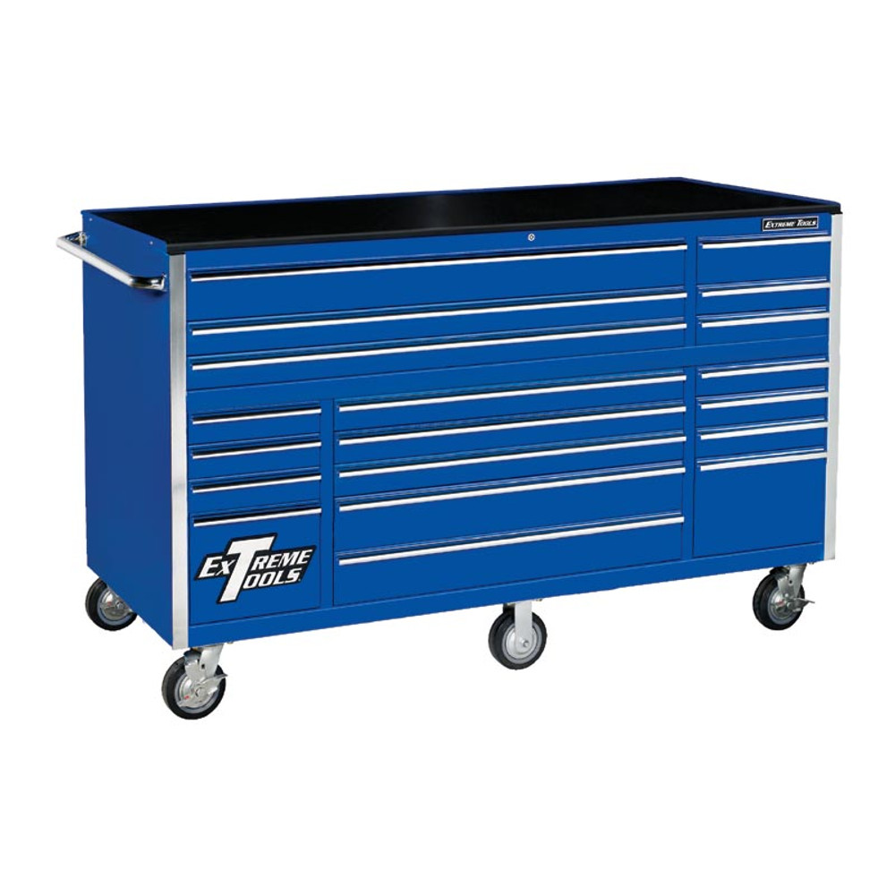 """Extreme Tools 72"""" RX Series 19-Drawer Roller Cabinet - Blue"""