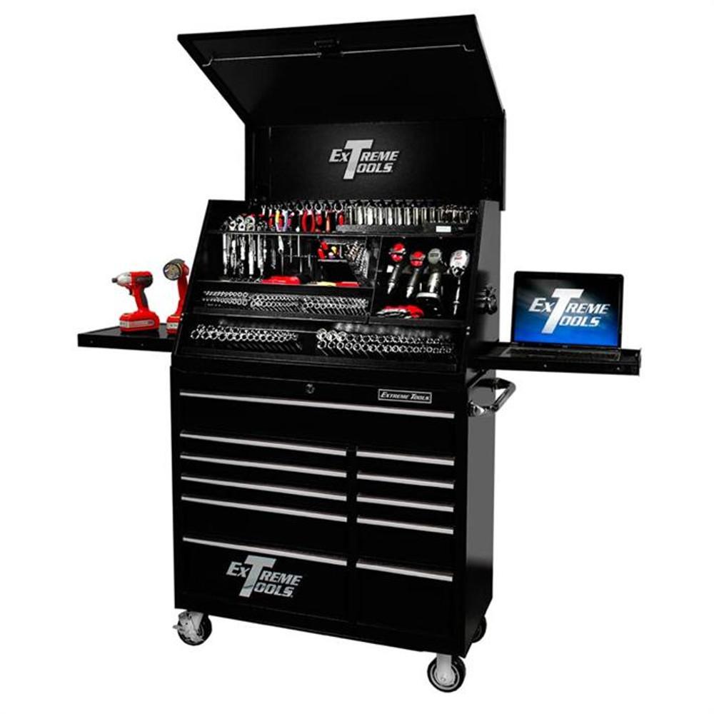 "Extreme Tools 41"" Deluxe Portable Workstation & Roller Cabinet Set - Black"