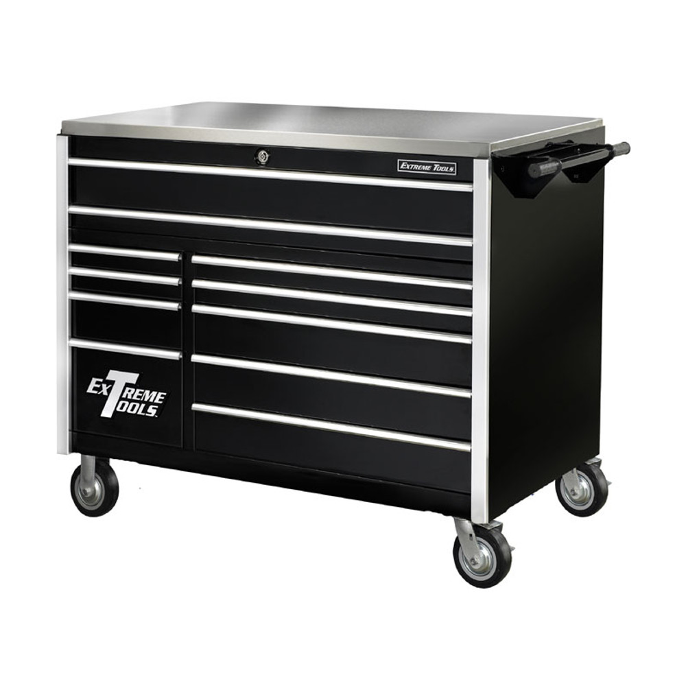 """Extreme Tools 55"""" 11-Drawer Professional Roller Cabinet w/ Stainless Steel Top - Black"""