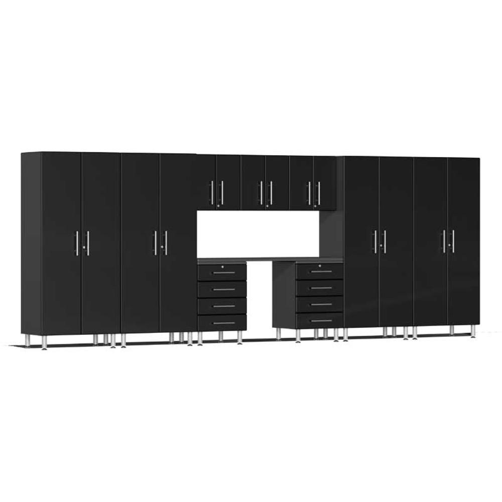 Ulti-MATE Garage 2.0 Series Black Metallic 10-Piece Kit with Recessed Worktop