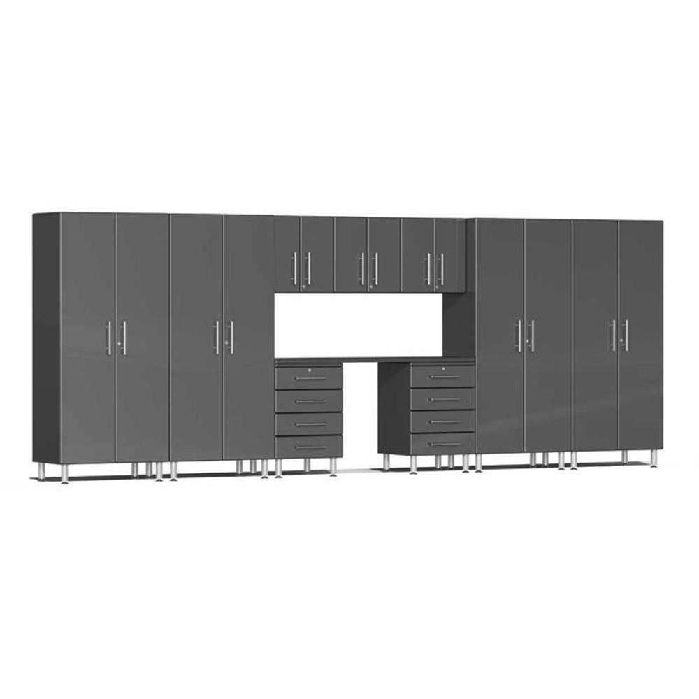 Ulti-MATE Garage 2.0 Series Grey Metallic 10-Piece Kit with Recessed Worktop