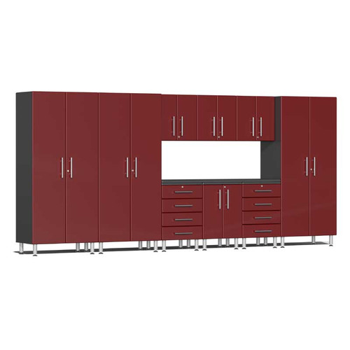 Ulti-MATE Garage 2.0 Series Red Metallic 10-PC Kit with Recessed Worktop