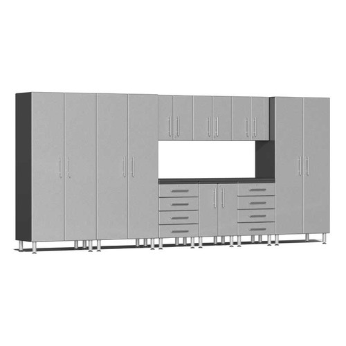 Ulti-MATE Garage 2.0 Series Silver Metallic 10-PC Kit with Recessed Worktop