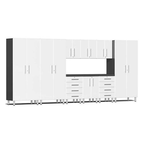 Ulti-MATE Garage 2.0 Series White Metallic 10-PC Kit with Recessed Worktop