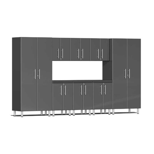Ulti-MATE Garage 2.0 Series Grey Metallic 9 PC Kit with Worktop
