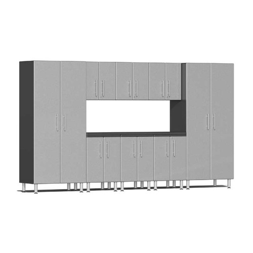 Ulti-MATE Garage 2.0 Series Silver Metallic 9 PC Kit with Worktop