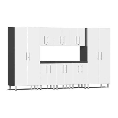 Ulti-MATE Garage 2.0 Series White Metallic 9 PC Kit with Worktop