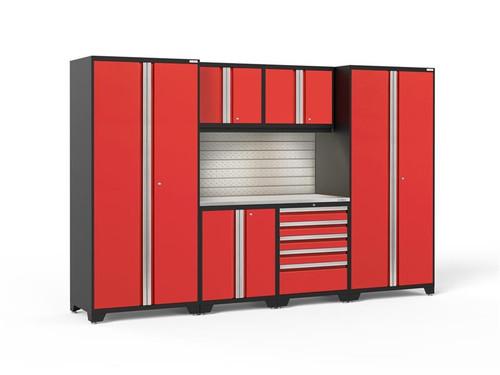 NewAge Pro Series 3.0 Red 7 Piece Set w/Stainless Steel Top, LED Lights & Backsplash