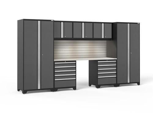 NewAge Pro Series 3.0 Grey 8 Piece Set w/Stainless Steel Worktop, LED Lights & Backsplash