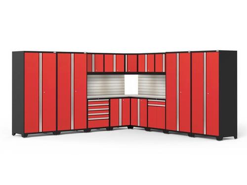 NewAge Pro Series 3.0 Red 16 Piece Corner Set w/Stainless Steel Top, LED Lights & Backsplash