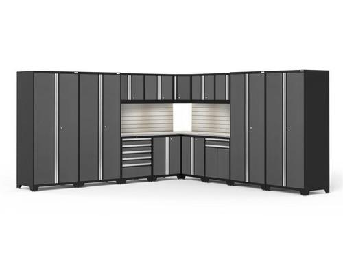 NewAge Pro Series 3.0 Grey 16 Piece Corner Set w/Stainless Steel Top, LED Lights & Backsplash
