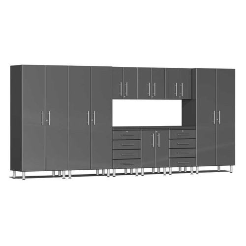Ulti-MATE Garage 2.0 Series Grey Metallic 10-PC Kit with Recessed Worktop