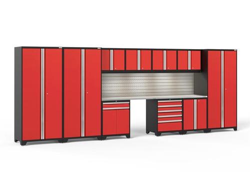 NewAge Pro Series 3.0 Red 12 Piece Set w/Stainless Steel Worktop, LED Lights & Backsplash