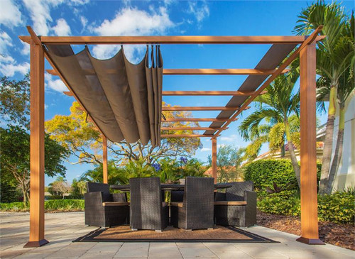 Paragon Outdoor Florence 11x11 Aluminum Pergola with Cedar Wood Grain Finish/Cocoa Color Convertible Canopy