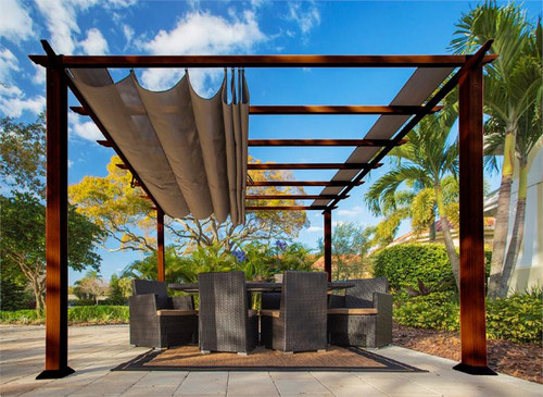 Paragon Outdoor Florence 11x11 Aluminum Pergola with Chilean Wood Grain Finish/Cocoa Color Convertible Canopy