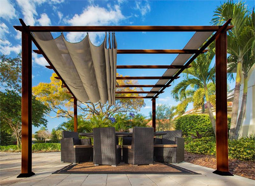 Paragon Outdoor Florence 11x11 Aluminum Pergola with Chilean Wood Grain Finish/Sand Color Convertible Canopy